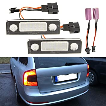 GOFORJUMP 2Pcs Luces de la Placa del Coche LED 12V SMD3528 para V/W Lámpara