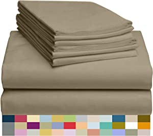 "LuxClub 6 PC Sheet Set Bamboo Sheets Deep Pockets 18"" Eco Friendly Wrinkle Free Sheets Hypoallergenic Anti-Bacteria Machine Washable Hotel Bedding Silky Soft - Sand Dunes King"