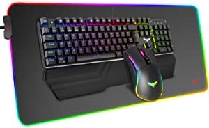 Havit Mechanical Keyboard and Mouse Combo RGB Gaming 104 Keys Blue Switches Wired USB Keyboards with Detachable Wrist Rest, Programmable Mouse, RGB Large Gaming Mouse Pad for PC Gamer Computer Desktop