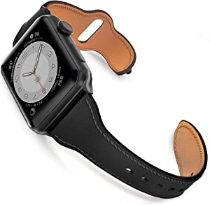 GZ GZHISY Leather Band Compatible for Apple Watch 38mm 40mm, Slim Thin Genuine Leather Narrow Watch Strap Replacement for Women Compatible for iWatch Series 6/SE/5/4/3/2/1, S/M Black