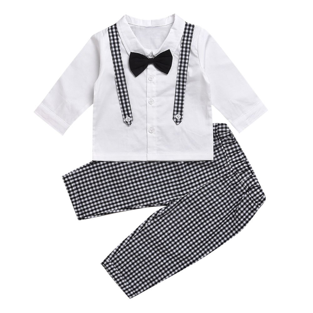 De feuilles Chic-Chic Kids Toddler Baby Boys Gentleman Tuxedo Suit Clothing Sets Bow Tie Shirt +Long Pants Outfits
