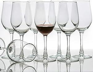 [Set of 8, 12 Ounce] All-Purpose Wine Glasses, Lead Free, Classic