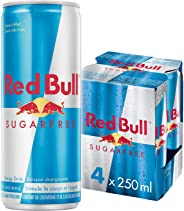 Red Bull Energy Drink Sugar Free, 4 Pack of 250ml Cans