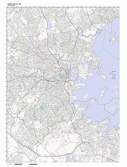 Suffolk Va Zip Code Map.Amazon Com Suffolk County Massachusetts Ma Zip Code Map Not