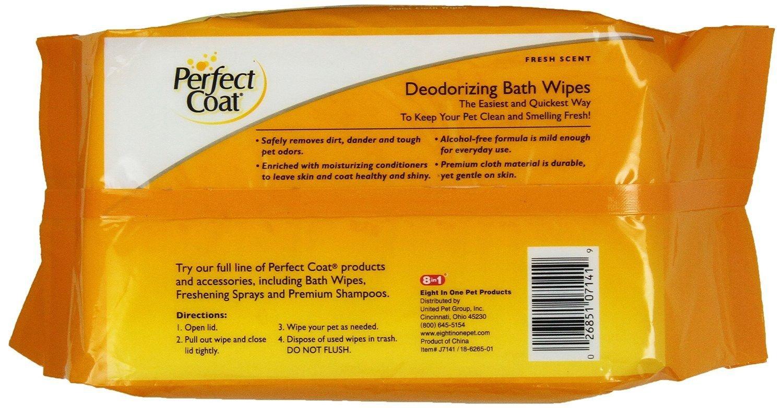 Perfect Coat Dog Deodorizing Bath Wipes 100ct