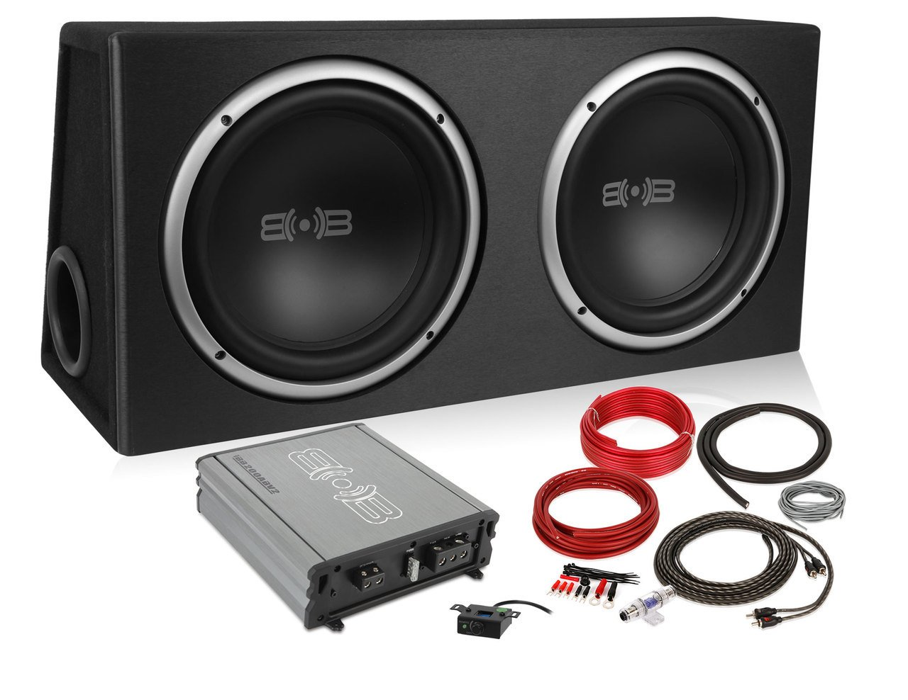 Belva 1200 watt Complete Car Subwoofer Package includes Two (2) 12-inch Subwoofers in Ported Box, Monoblock Amplifier, Amp Wire Kit [BPKG212v2] by Belva