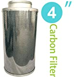 4 Inch Carbon Filter Air Scrubber Odor Control Air Purifier Activated Charcoal Filter Carbon Scrubber with Pre-filter for Inline Fan IAV Hydroponics Greenhouse Indoor Gardening Grow Tent Ventilation
