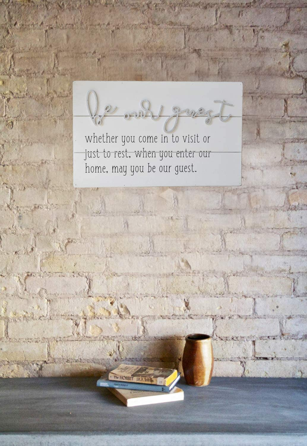 GIFTME 5 Wooden Wall Art Be Our Guest Metal Sign Wood Wall Plaque Signs Guest Room Home D/écor