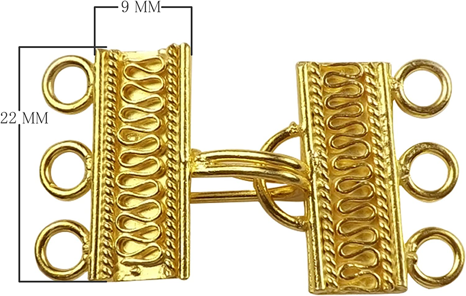 Connector 16mm Necklace 5pcs Flower Gold Plating 3 Hole Bracelet Textured Round Gold Box Clasp Link