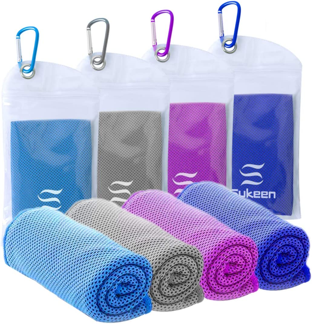 ,Ice Towel,Soft Breathable Chilly Towel,Microfiber Towel for Yoga,Sport,Running,Gym,Workout,Camping,Fitness,Workout /& More Activities 4 Pack Cooling Towel Sukeen 40x12