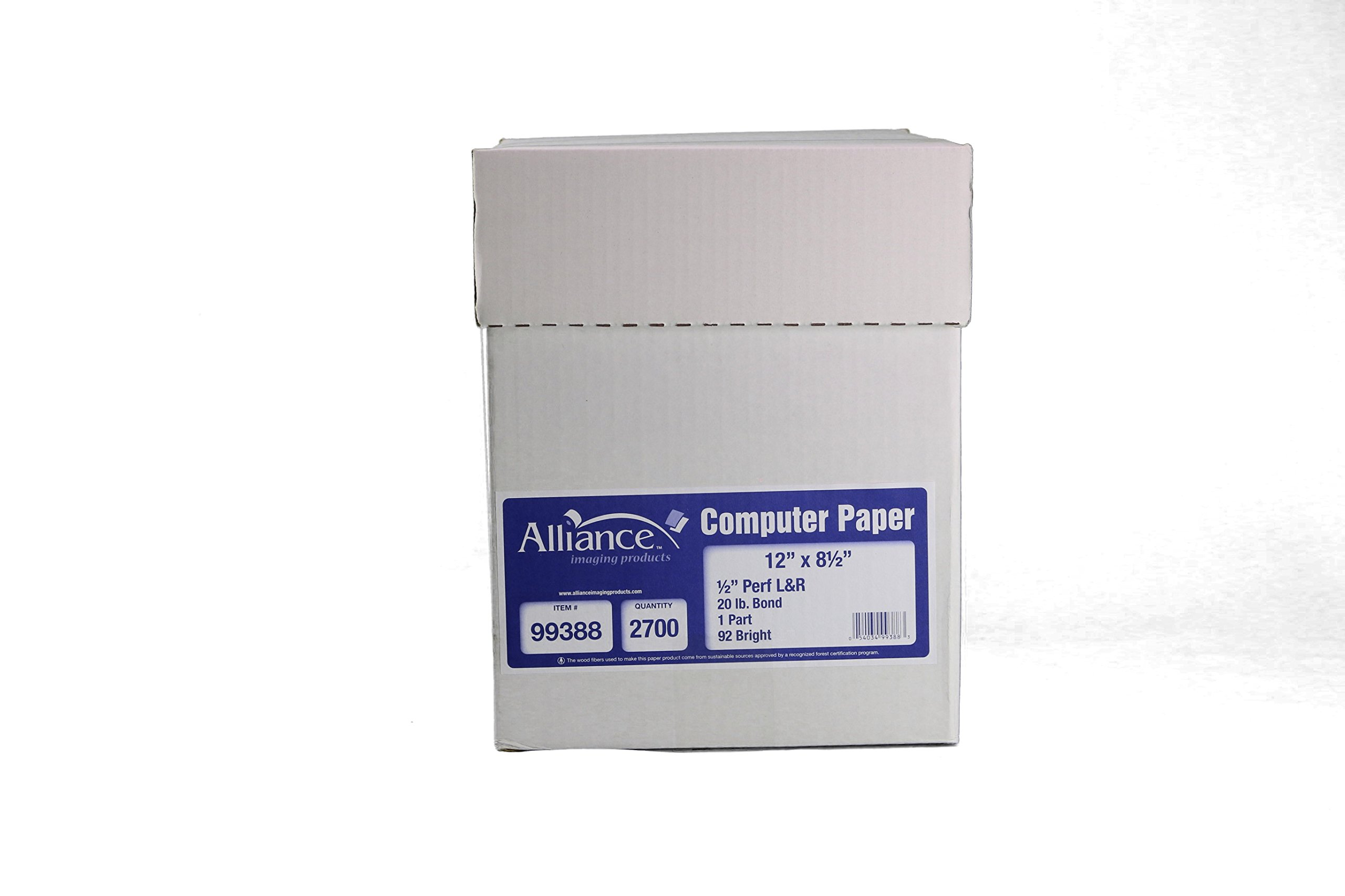 Alliance Continuous Computer Paper 12'' x 8-1/2'' Blank Left & Right Perforated 1-Part 92 Bright 20lb 2700 Sheets per Carton by Alliance (Image #2)