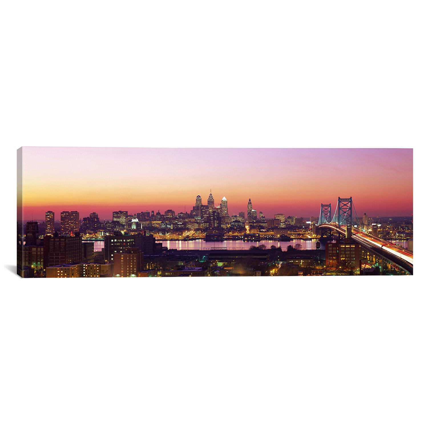 iCanvasART Arial View of The City at Twilight Philadelphia, Pennsylvania, USA by Panoramic Images Canvas Art Print, 48 by 16-Inch