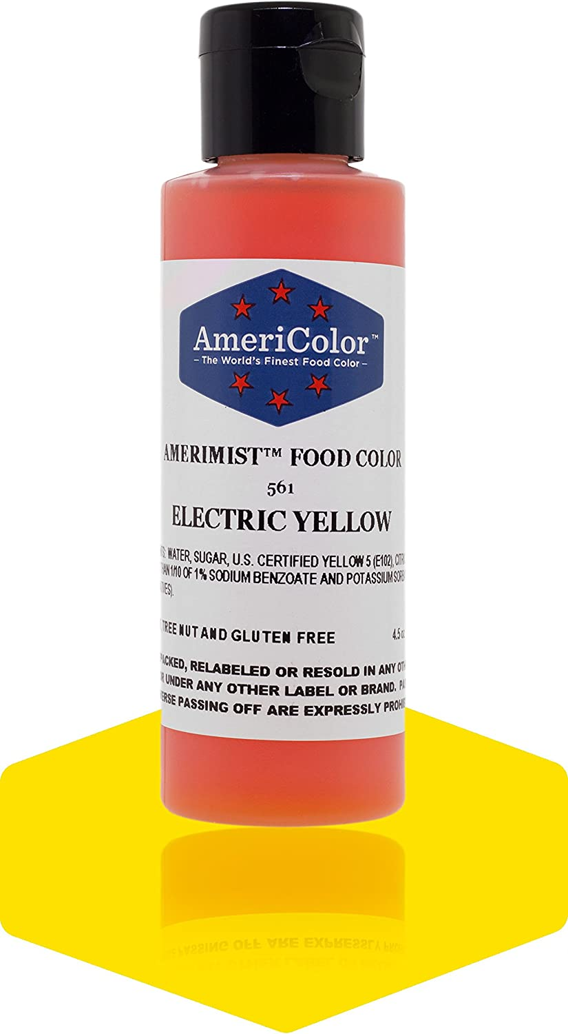 Badger Air-Brush Company AC-561 Americolor Amerimist 4-1/2-Ounce Edible Airbrush Ready Food Color, Electric Yellow