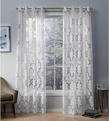 Exclusive Home Curtains Essex Geometric Sheer Burnout Window Curtain Panel Pair with Grommet Top, 52×108, Winter White, 2 Piece