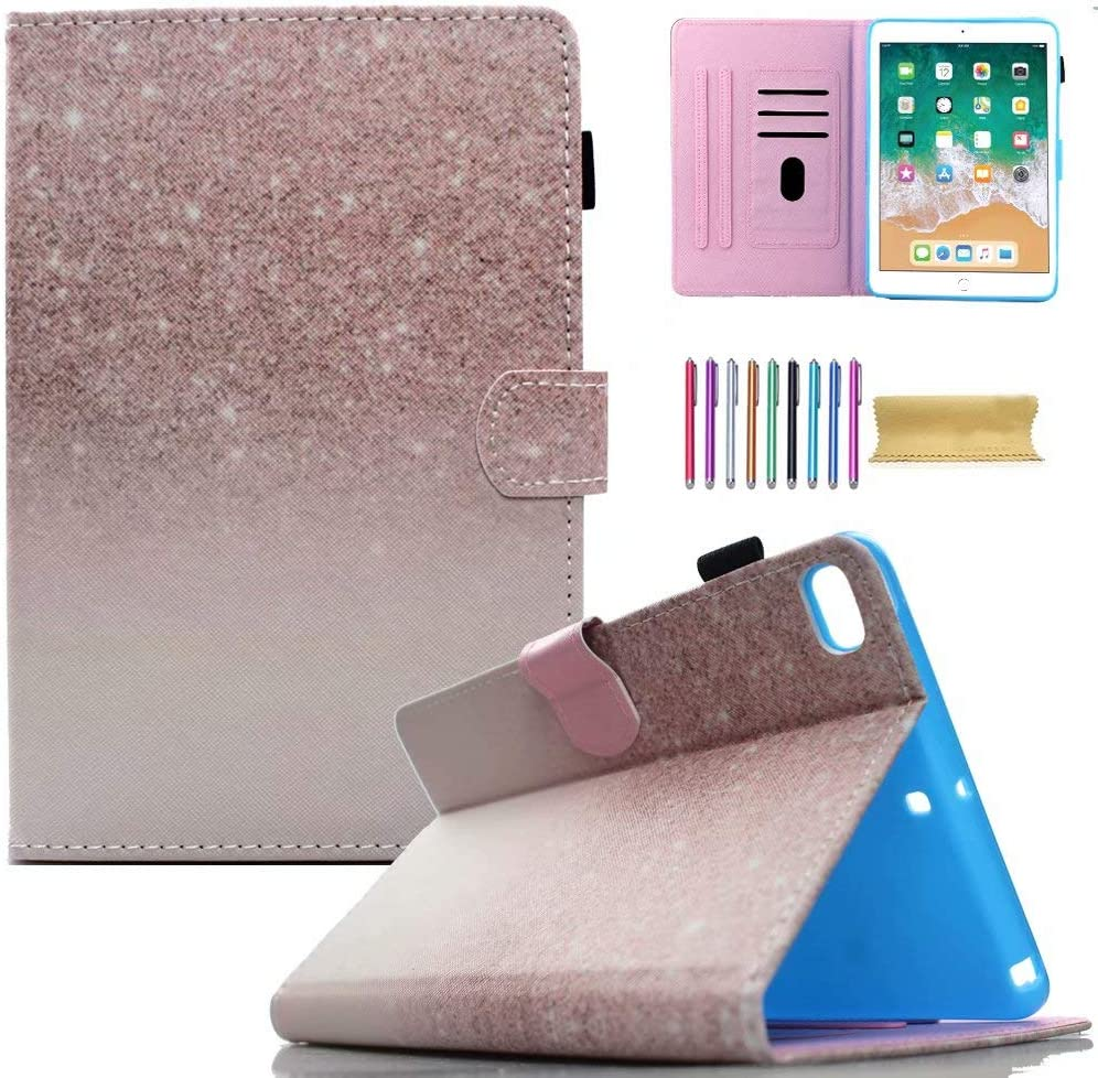 Case for iPad 9.7-inch 2018/2017, iPad Air 1 2, JANKS PU Leather Stand Smart Wallet Case Cover with Auto Sleep/Wake for iPad 2018 (6th Gen) - iPad 2017 (5th Gen) - iPad Air 2 & 1, Pink Sparkle