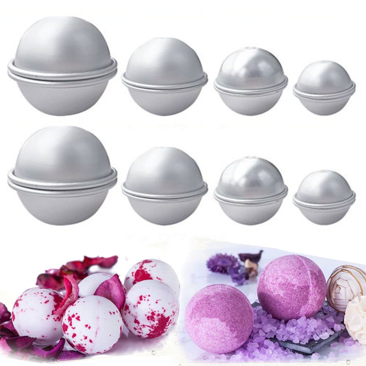 Metal Bath Bomb Mold Kits, Crafting Your Own Fizzy, Large Medium Small Round Conch Scallop Flower Shape (Type7) Bamboogrow