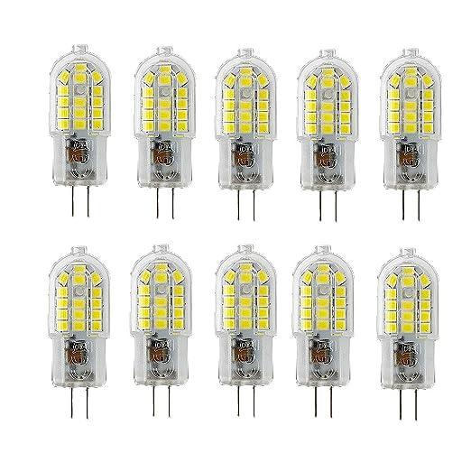 OUGEER Pack de 10 Bombillas LED de Bajo Consumo G4 3W,30 SMD 2835,