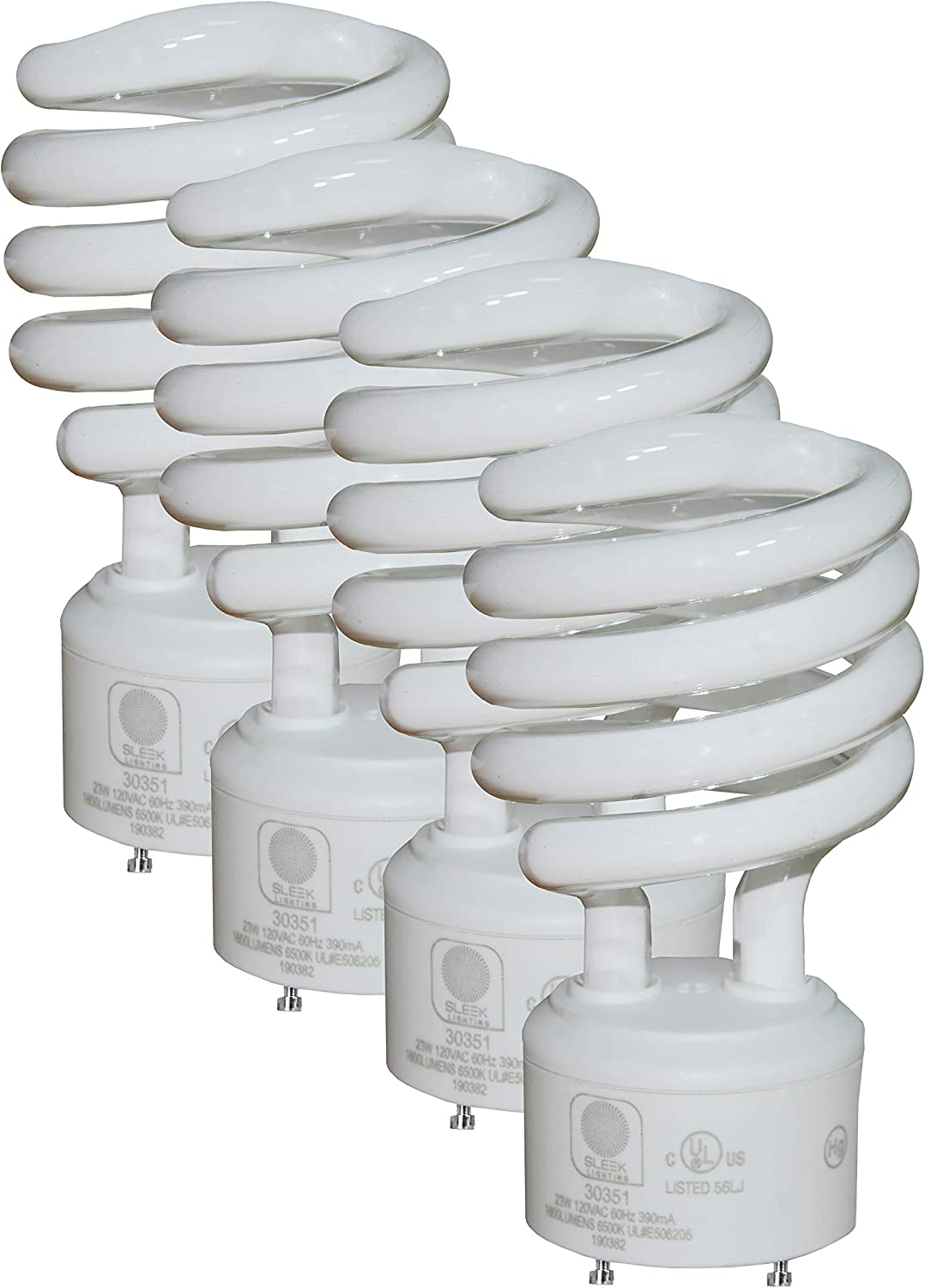 SleekLighting - GU24 23Watt 2 Prong Light Bulbs- UL approved-120v 60Hz - Mini Twist Lock Spiral -Self Ballasted CFL Fluorescent Bulbs- 4200K 1600lm Cool White 4pack (100 Watt Equivalent)