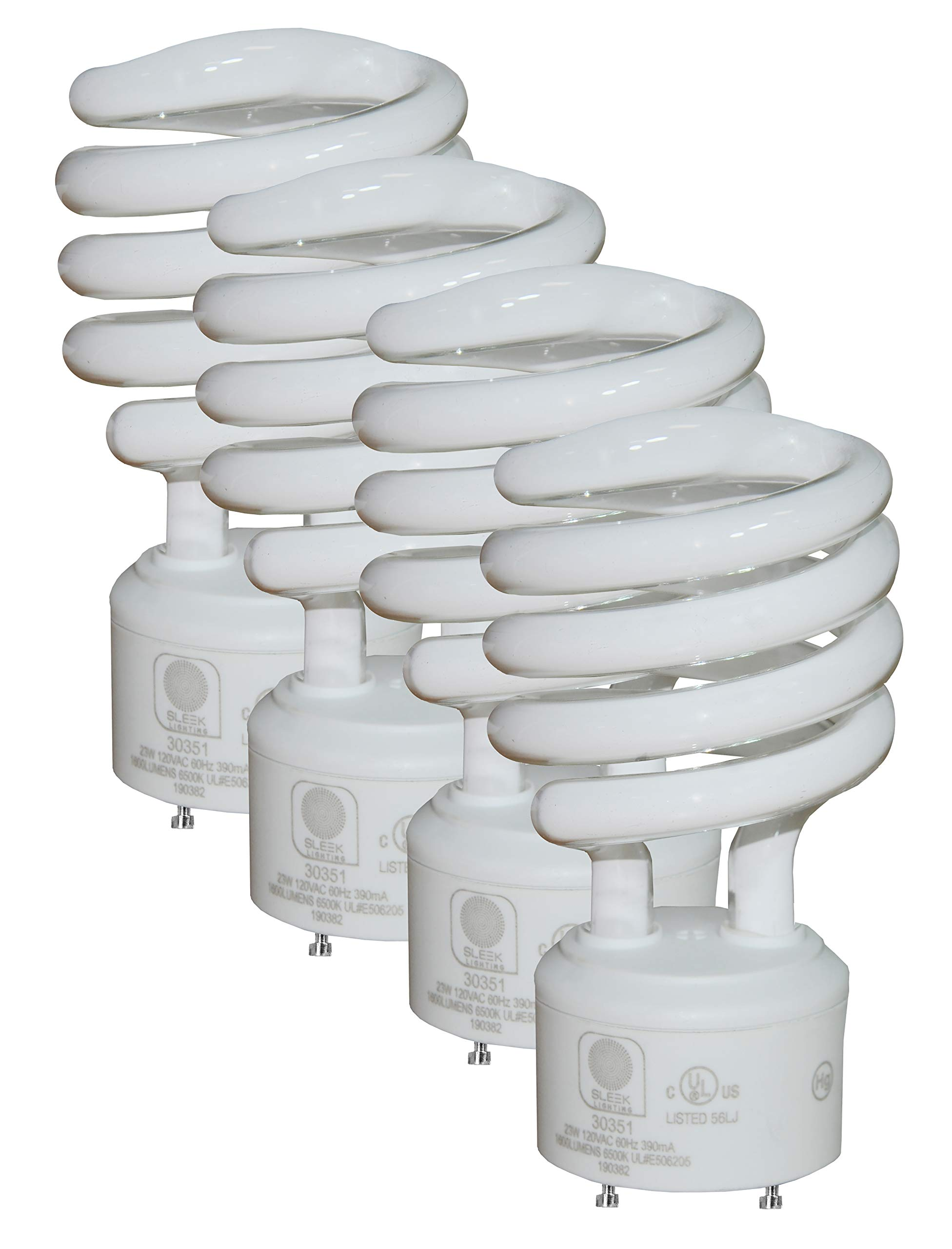 SleekLighting GU24 Base 23Watt UL Listed T2 Mini Twist Spiral Two Prong Twist CFL Light Bulb 2 Pin 6500K 1600lm 10,000Hr Life- 4pack