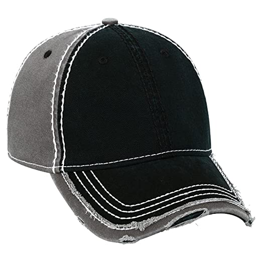 1d03edd1dbe315 Product of Ottocap Garment Washed Cotton Twill W/Heavy Stitching Distressed  Trim Edge Visor Six Panel Low Profile Dad Hat -Blk/Blk/Ch.Gry [Wholesale  Price ...