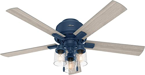 Hunter Fan Company 50312 Hartland Low Profile Ceiling Fan with LED Light and Pull Chain, 52 , Indigo Blue