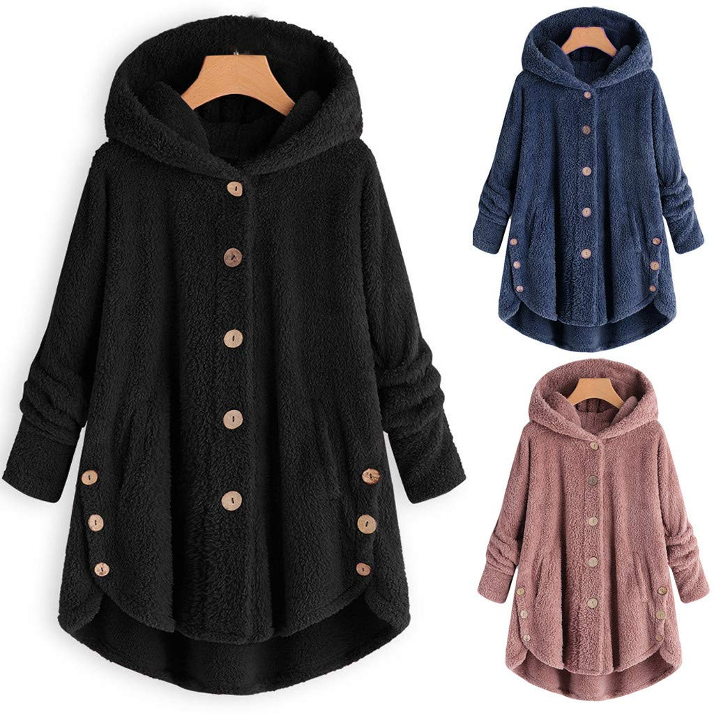 JSPOYOU Women Coats,Fashion Women Button Coat Fluffy Tail Tops Hooded Pullover Loose Sweater Jacket XT101