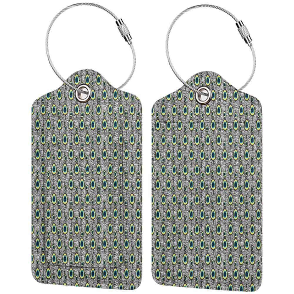 Multi-patterned luggage tag Peacock Decor Collection Peacock Tail Feathers Pattern Vintage Traditional Artwork Zoo Wings Summer Double-sided printing Navy Blue Yellow Gray W2.7 x L4.6