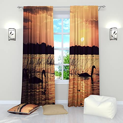 Factory4me Bird Curtains Swans at Sunset. Window Curtain Set of 2 Panels Each W52 x L96 Total W104 x L96 inches Drape