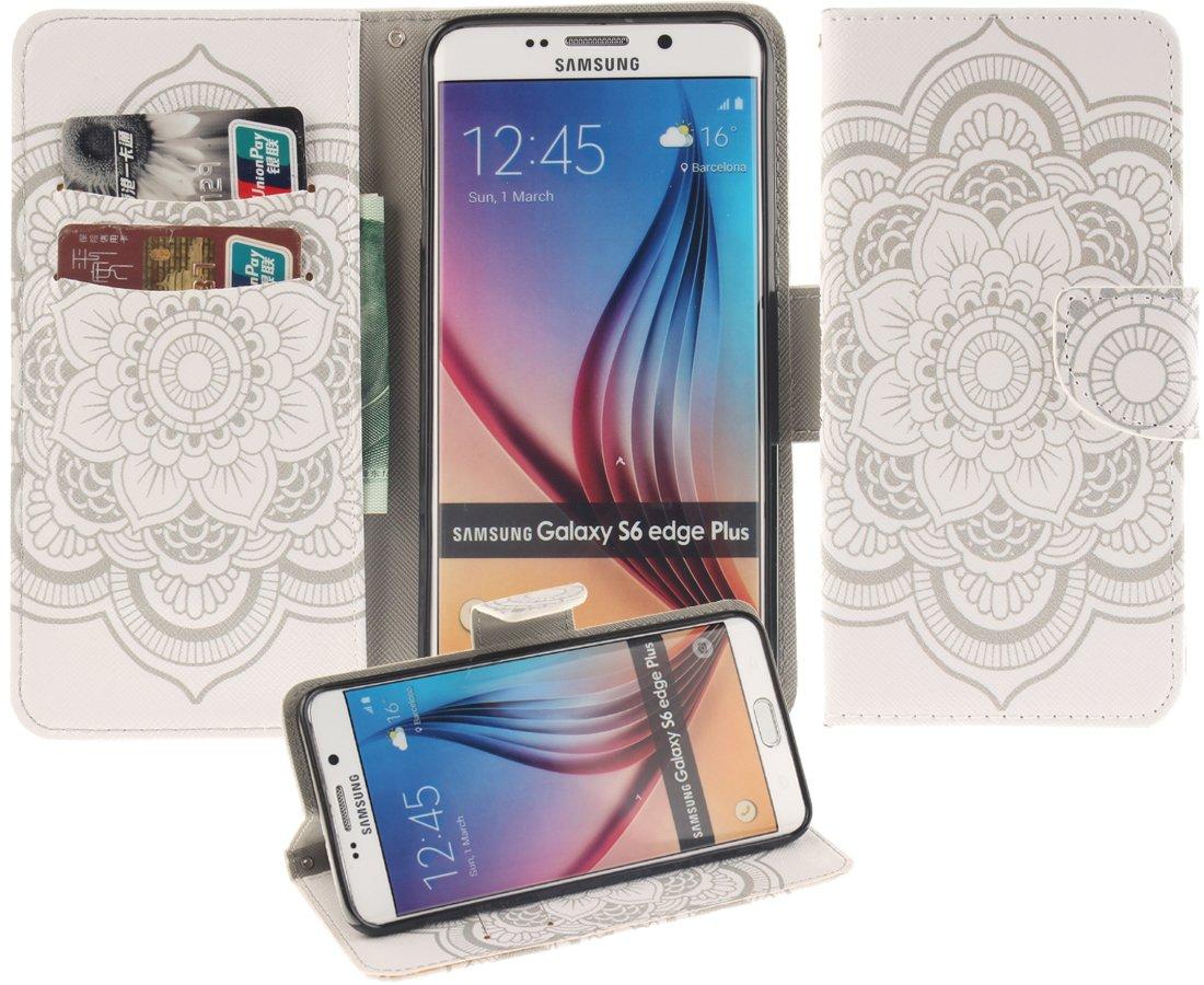 eloiro for Samsung Galaxy s6 Edge Plusケース、ウルトラスリムカードホルダーレザー財布型ケースソフト磁気保護シェルフォリオフリップ[スタンドブックタイプ]カバー印刷パターンシリーズ – Stramonium Flower B01AG0ZJ0E