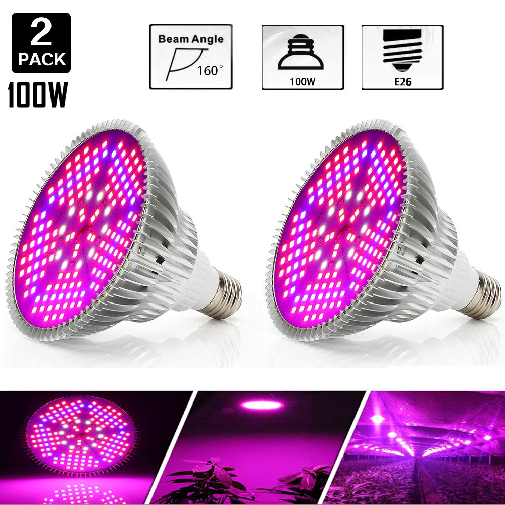 [Pack of 2]100W Led Plant Grow Light Bulb, Full Spectrum 150 LEDs Indoor Plants Growing Light Bulb Lamp for Vegetables Greenhouse and Hydroponic, E26 E27 Base Grow Light Bulbs, AC 85~265V by highydroLED