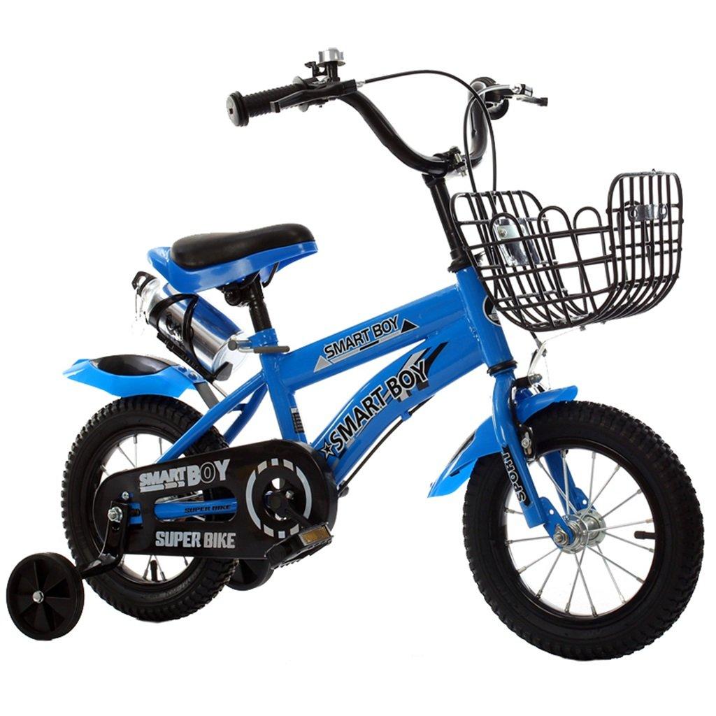 KANGR-子ども用自転車 子供用自転車アウトドアマウンテンバイク2-3-6-8ボーイズとガールズ子供用玩具調節可能ハンドルバー/トレーニングホイール付きサドルウォーターボトルとホルダー-12 / 14/16/18インチ ( 色 : 青 , サイズ さいず : 12 inch ) B07BTMJNKZ 12 inch|青 青 12 inch