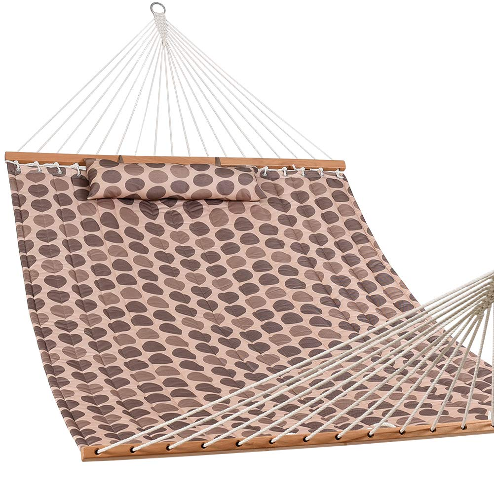 Lazy Daze Hammocks 55' Double Layered Quilted Fabric Hammock Swing with Pillow, Elegant Tassels and Spread Bar Heavy Duty Stylish for Two Person, Floral