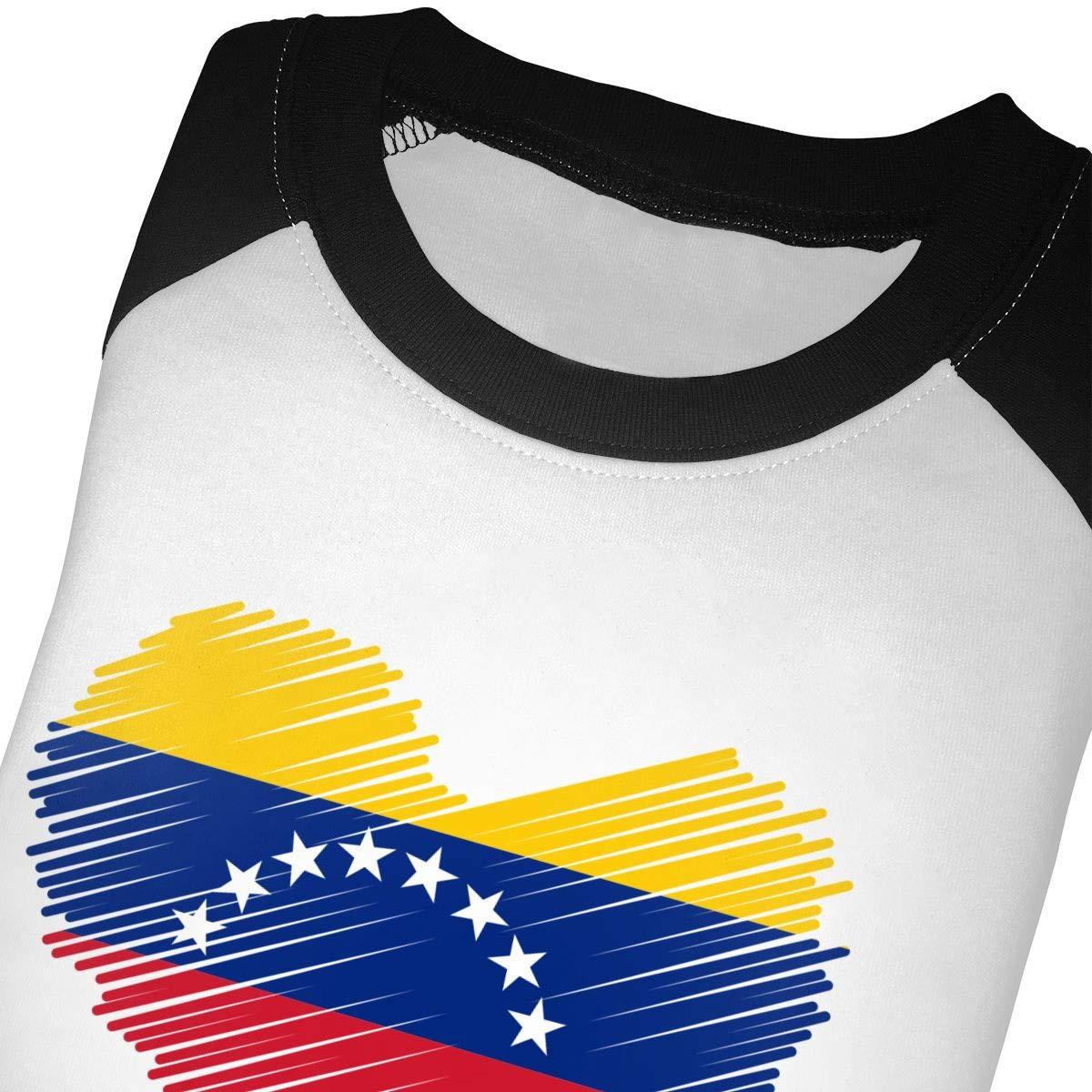 Venezuelan Flag in Heart Shape Unisex Toddler Baseball Jersey Contrast 3//4 Sleeves Tee