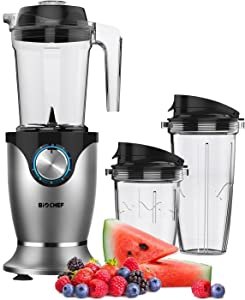 BioChef Galaxy Blender - 1000W High Performance, Personal Blender Smoothie Maker - 1.45L Jug and 2 Travel Cups Included (Chrome)