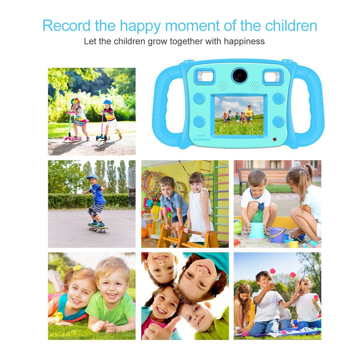 """Prograce Kids Camera Dual Selfie Camera 1080P HD Video Recorder Digital Action Camera Camcorder for Boys Girls Gifts 2.0"""" LCD Screen with 4X Digital Zoom and Funny Game(Blue) by PROGRACE (Image #7)"""