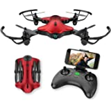 Drone for Kids,Spacekey FPV Wi-Fi Drone with Camera 720P HD, Real-time Video Feed, Great Drone for Beginners ,Quadcopter with Altitude Hold, One-key Take-off , Landing and Foldable Arms (Red)