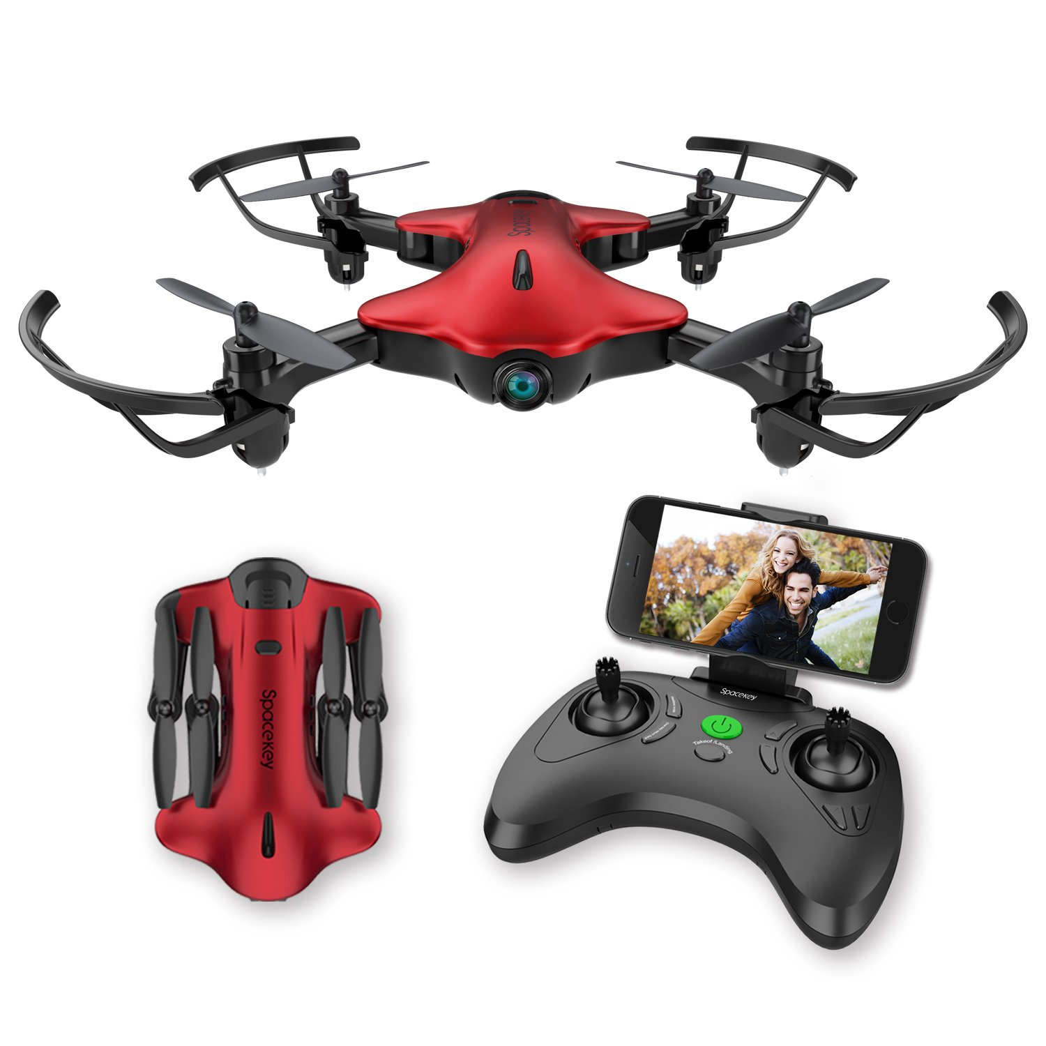 Drone for Kids,Spacekey FPV Wi-Fi Drone with Camera 720P HD, Real-time Video Feed, Great Drone for Beginners,Quadcopter with Altitude Hold, One-Key Take-Off, Landing and Foldable Arms (Red)