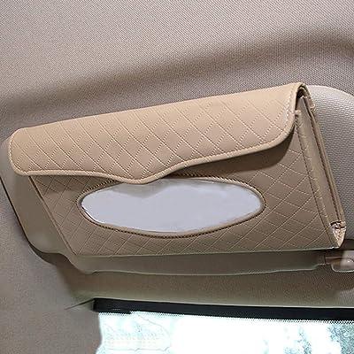 Cartisen Car Tissue Holder, Sun Visor Tissue Holder, Car Visor Napkin Holder, PU Leather Backseat Tissue Case for Car/Truck (Beige): Automotive
