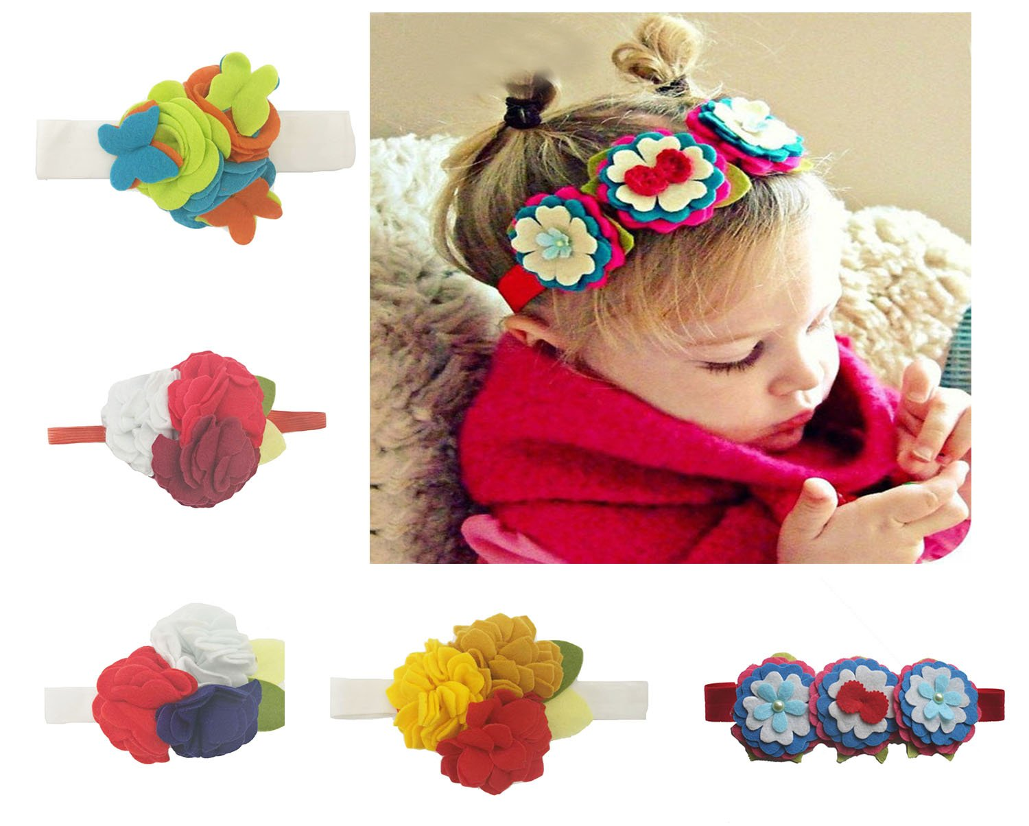 Baby Girl Cute Flowers Head Band Children Bow Hair Accessories 5PCS