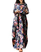 StyleDome Women's Vintage Long Sleeve Oversized Floral Tunic Baggy Kaftan Long Maxi Shirt Dress