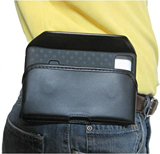product image for TurtleBack TB Holster Pouch, Rugged and Heavy Duty, with Strong Belt Clip, Fits Google Pixel 4XL (2019) with Slim-Fit Case On Device (Blk Leather-Sideways Fixed Clip)