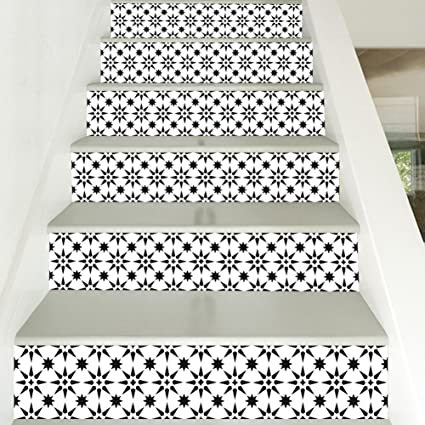 Treppen Aufkleber 3d Schwarz Weiß Ton Mosaik Muster Print