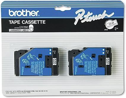 "Brother TC-20 2 Pack 1//2/"" Black//White Laminated Tape for PT-6//8//10//12//15//20//150"
