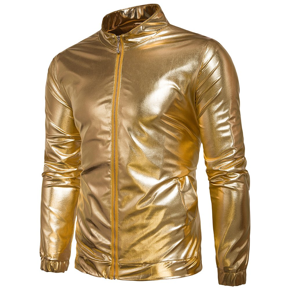 WEEN CHARM Men's Metallic Jacket Nightclub Shinny Zip up Varsity Baseball Bomber Jacket