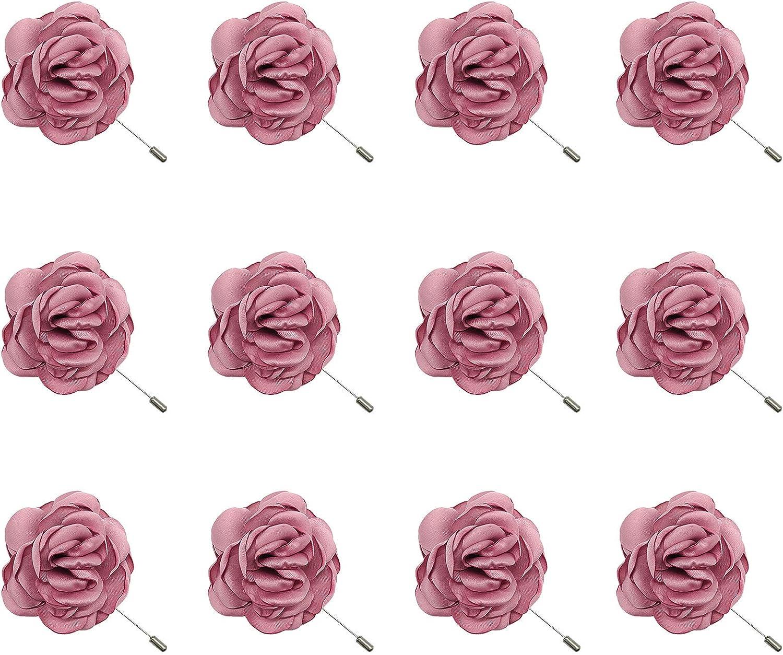ZAKIA 12-Pack Mens Flower Badge Needle Brooch Handmade Corsage Pin Lapel Pin Wedding Party