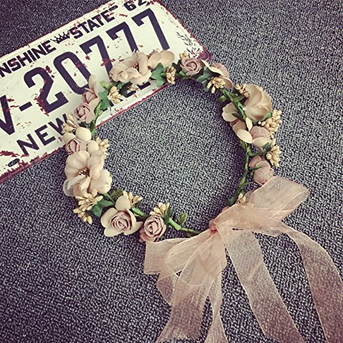 Garland Headband Flower Crown Hair Wreath Halo with Adjustable Ribbon for Wedding Festivals (Flower Girl Headpiece)