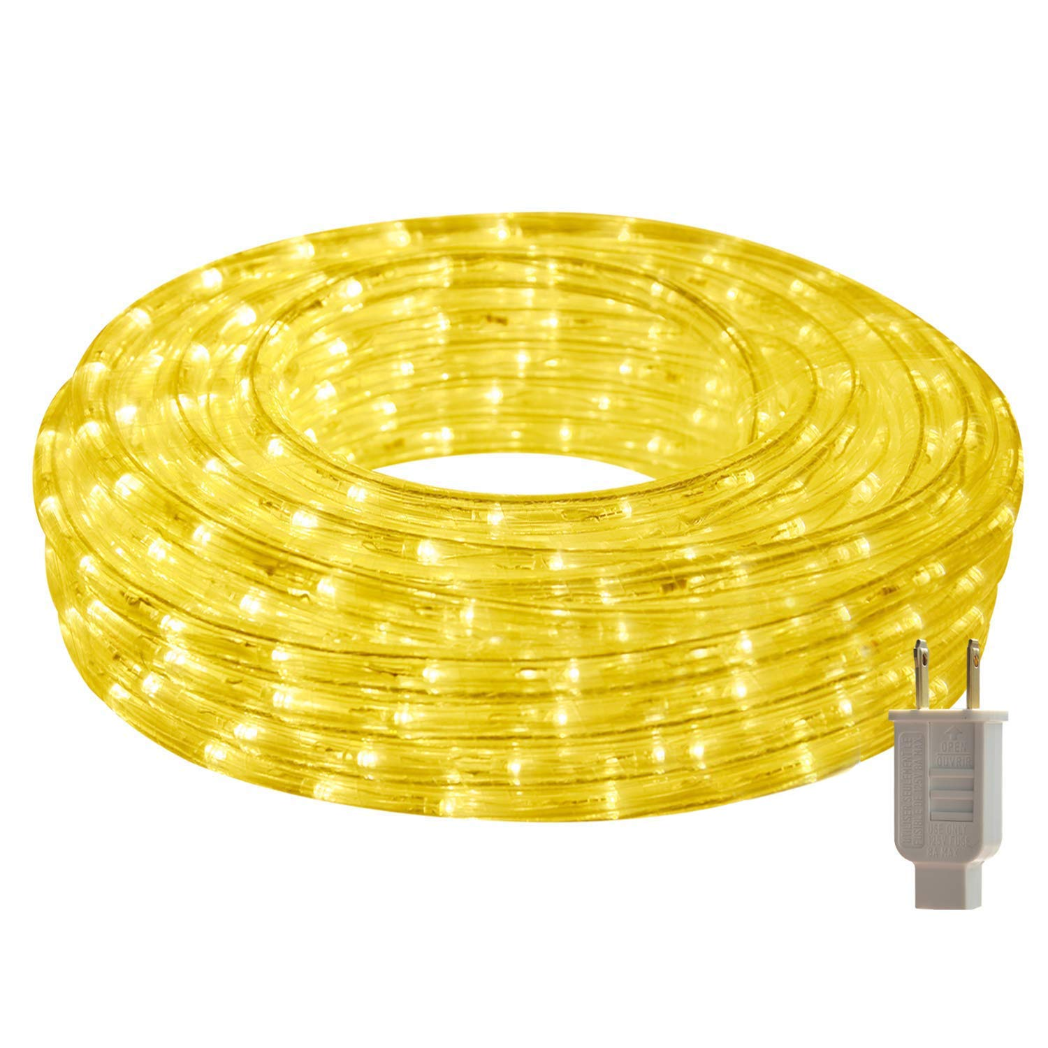 HEI LIANG LED Rope Lights, 120V Waterproof LED String Lights for Patio, Backyard, Garden, Wedding, Christmas Party, Indoor and Outdoor Decoration (50FT/15M, Warm White)