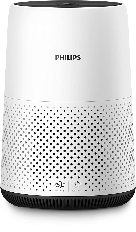 Bianco//Nero Rileva la Qualit/à Rimuove Allergeni e Particelle Sottili Philips Qualit/à Aria AC0820//10 Purificazione Automatica Intelligente Silenzioso Dimensioni Compatte