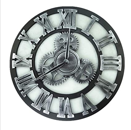 Zhahender Wall Clock Vintage Personality Creative Home Bar Decoration LOFT Industrial Wind Gear Silent Wall Clock