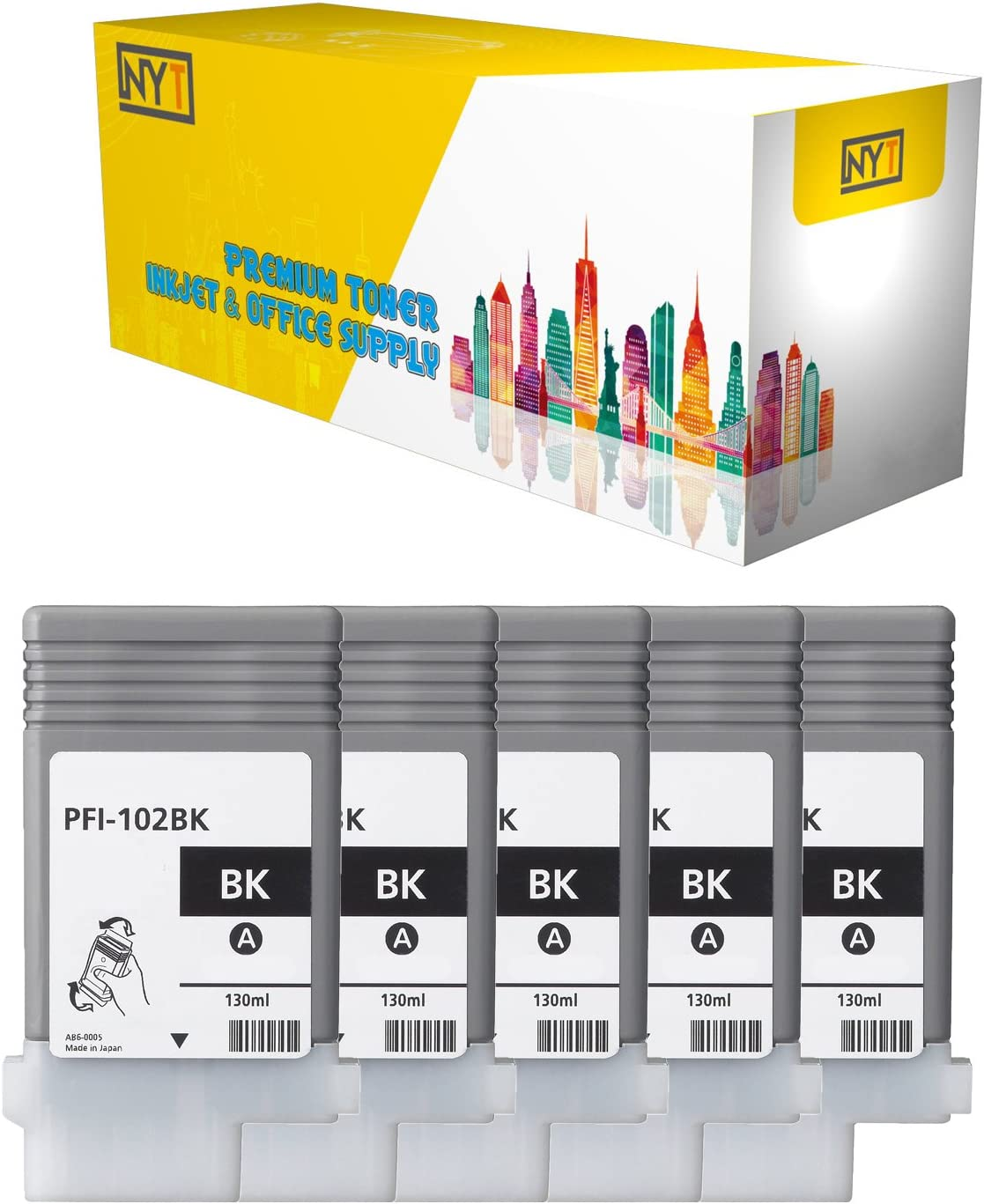 NYT Compatible High Yield Inkjet Cartridge Replacement for PFI-102BK for Canon ImagePROGRAF iPF 500 Black, 5-Pack 510 600 710 610 720